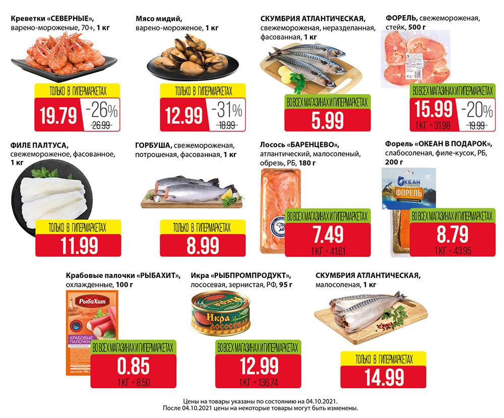 Красная цена на рыбу в евроопт
