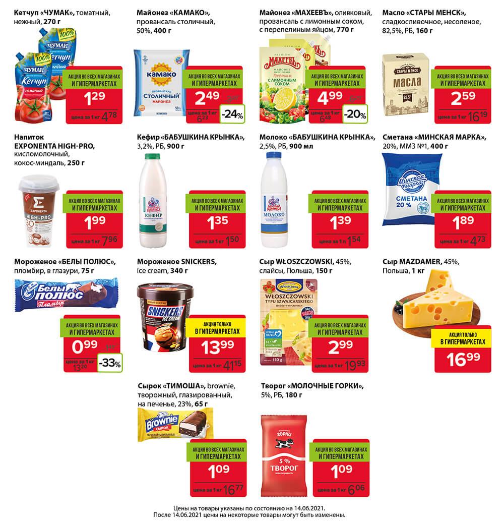 Красная цена на молочные продукты в евроопт